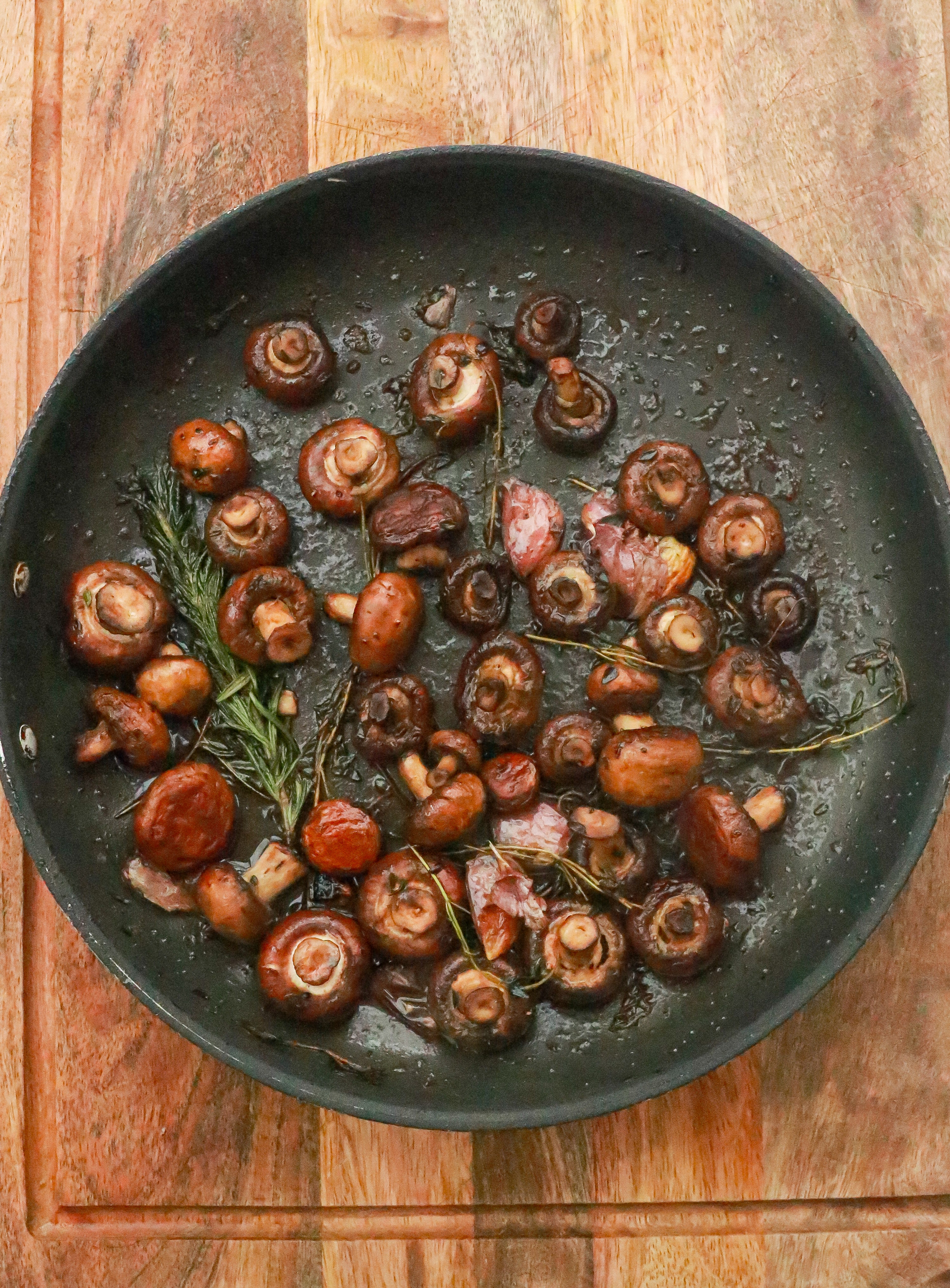 Cook mushrooms without oil to reduce fat intake.
